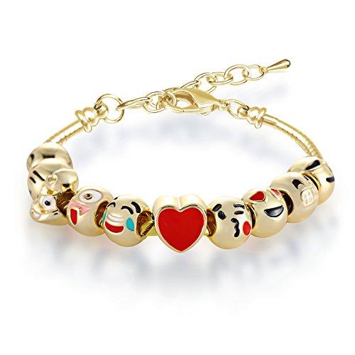 Bracelet Fille MANBARA Bracelet en Perles Bracelet Emoji Charmant Pour Les enfants Longueur Réglable Coeurs en émail Coeur Cadeaux Bijoux Anniversaire Noël DIY (500CB02)