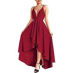 Mujer Vestido Largo Sin Mangas Backless Vestidos de Noche Fiesta Partido Coctel Dresses Vino Rojo L