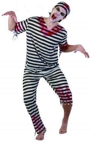 s Schrank Gefangener Inmate Stripe Zombie kriminellen Kostüm Outfit (Gefangene Shirt Erwachsene Kostüme)