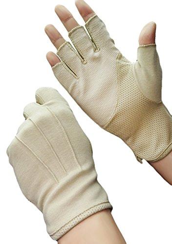 Herren Halbfinger Handschuhe Baumwolle Fahrradhandschuhe Anti-Rutsch, Anti-UV Schutz, Atmungsaktiv Sporthandschuhe Traininghandschuhe Gloves für Fahren Golf Outdoor Motorrad