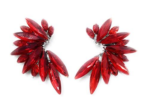 Ohrringe Kristall Farben Damen Ohrringe Party Hochzeit Mittel Aro Verschiedene Farben Rot Silber