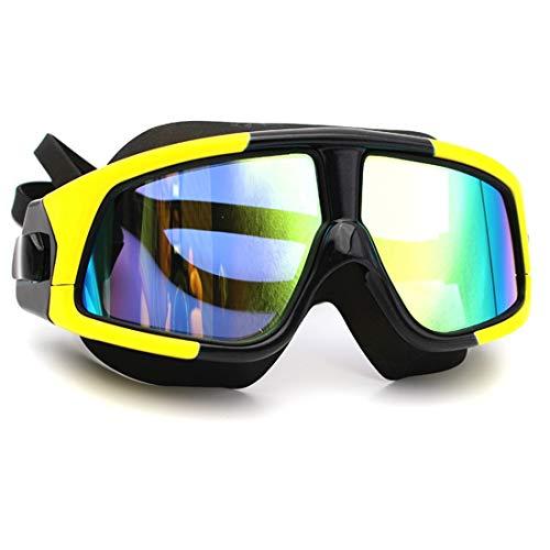 GSAYDNEE HD-Anti-Fog-Tauchen Erwachsene Schwimmbrille großen Rahmen Schwimmbrille für Frauen Männer Erwachsene (Color : Yellow)