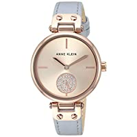 Anne Klein Women's AK/3380RGLG Swarovski Crystal Accented Rose Gold-Tone and Light Grey Leather Strap Watch