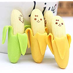 Gudotra 24pcs Gomas de Borrar Divertidas para Lápice Verde Amarilla Graciosa Patrón Plátano Borrador para Niños Regalo Cumpleaños Infantil