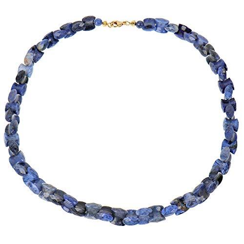 Sogni d'oro Damen-Collier Halskette echt Gold Gelbgold 375 (9 Karat) Dumortierit Heilstein
