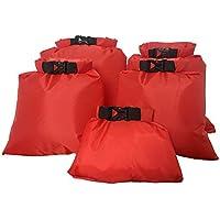 VORCOOL 5 PCS Portable Waterproof Dry Bag Upstream Drifting Bag 1.5L 2.5L 3.5L 4.5L 6L for Camping Boating Kayaking Rafting (Red)