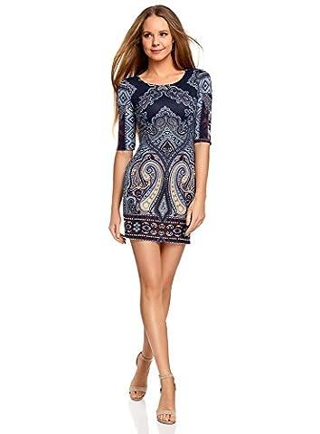 oodji Ultra Damen Enges Jersey-Kleid, Blau, DE 38 / EU 40 / M