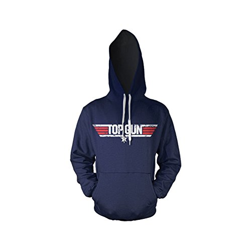 Top Gun Distressed Logo Kapuzenpullover (Marineblau), X-Large (Blau Brust Distressed)
