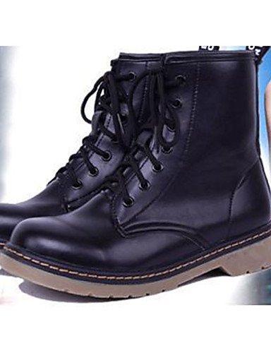 ShangYi Mode Frauen Schuhe Damen Stiefel Schuhe Mode Frühjahr / Herbst PU and andere Ferse flach schwarz / rot / weiss Schwarz