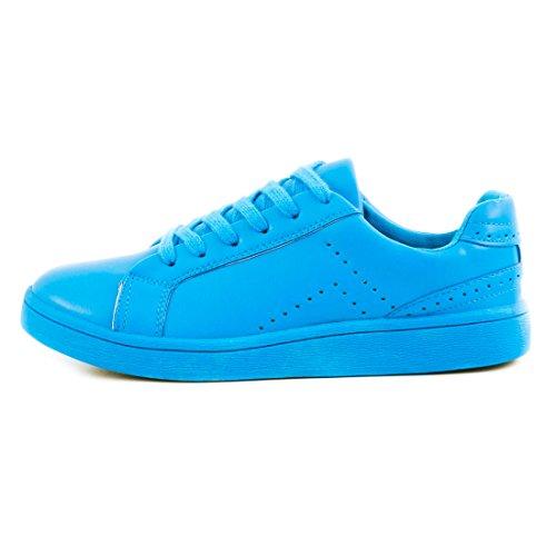 Super Trendige Vollfarbige Color Damen Schnür Sneaker in verschiedenen Farben Royalblau