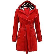 Botón con capucha de manga larga para mujer Botón con correa Botón de abrigo militar Chaqueta larga con talla grande