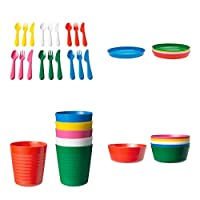 IKEA Childrens KALAS 36 Piece Plastic Cutlery Set - 6 X Knives, 6 X Forks, 6 X Spoons, 6 X Bowls, 6 X Plates & 6 X Cups