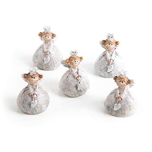 5 mini angelo argento bianco con cuore e corona, 3 cm, angelo custode, portafortuna, decorazione natalizia, decorazione da tavolo, natale, bomboniera, comunione, matrimonio, principessa