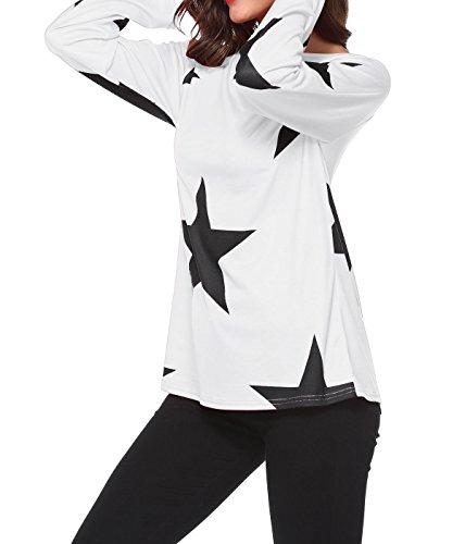 Onlyoustyle Donne Casual Camicie Tops Tunica Girocollo Maglie a Manica Lunga con Spalla in Mostra Stampate Stella Blouse T Shirt Ragazza Senza Spalline Maglietta Bianca