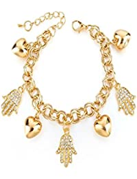Under 499 Swarovski Elements & Gold Plated Heart/Valentine/Humsa Hand Charms Bracelet For Women & Girls. Fancy...