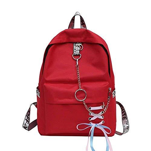 Willsego Frauen Rucksack Leder Rucksack Mädchen Schultasche Casual Daypack Schule Rucksäcke Tasche Satchel Gules (Farbe : -, Größe : -)