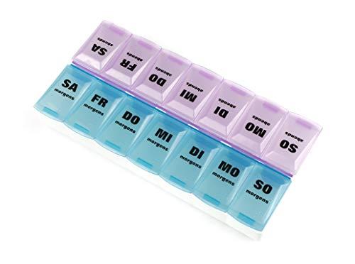 Tablettenbox Pillendose - Pillenbox und Medikamentendosierer für 7 Tage mit 2 Kammern morgens und Abends