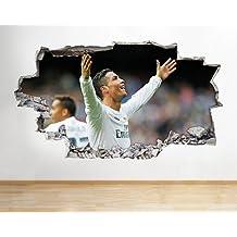 Ronaldo del Real Madrid Muelen Boys Mural para pared de dormitorio vinilo adhesivo arte 3d pegatinas, Medium (52x30cm)