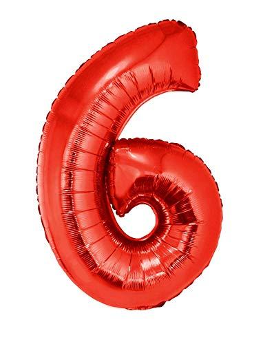 TrendClub100® Geburtstag XXL Luftballons Ballon - Riesen Folienballon 102 cm - Rot Zahl 6 -
