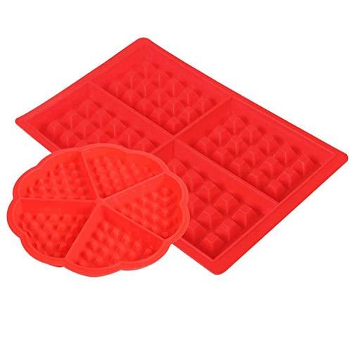 heliltd 2 Stücke Silikon Waffelform herzförmige Waffeleisen Schokoladenform Quadrat Herzform Backform Werkzeug Rot