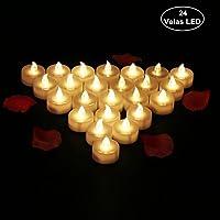 24 Velas LED Sin Fuego - Glamouric Velas Electrónicas con Baterías Incorporadas Perfectas para San Valentín, Cumpleaños, Fiestas, Navidad, Festivales, Decoración (Luz Blanca Cálida)