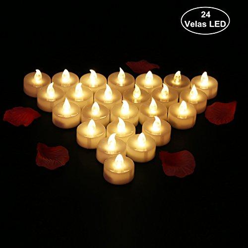 24 Velas LED de luz cálida a batería marca Glamouric