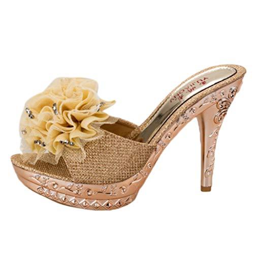 LSAltd Art- und Weisefrauen-populäre reizvolle Fisch-Mund-Blumen-Stilett-Sandelholz-Damen-beiläufige hochhackige Pantoffel sondern Schuhe aus -