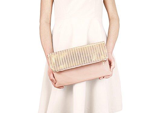 lille mus Damen Foldover-Tasche Finja mit Umhängekette aus Leder mit Goldprägung Rosé/Goldmuster
