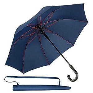 Newdora Stockschirm Regenschirm Windproof Manuelles Schließen Schwarz Fiberglas Rippen Golf Umbrella Lightweight Extra…
