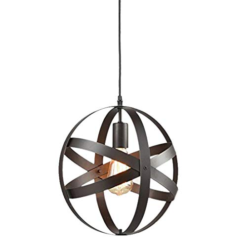 Zceillamp Industrial Style Hängelähne Retro Pendant leuchtet Iron Shade for E27 Glühbirne Spherical Metal Strip-Cafe Bar Loft Room Lighting Decoration Lampe -