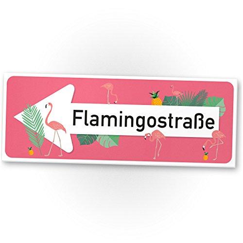 Flamingo Kunststoff Schild Flamingostraße rosa, kleines Geschenk sie, süße Deko, Wanddeko, Türschild Mädchen Wohnung / Mädche Zimmer, Geschenkidee Geburtstagsgeschenk beste Freundin, Party Deko