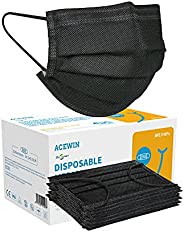 Acewin 50 Pièces Masques Tissu Enfants Jetable 3 couches CE type IIR,Non Tissé Anti-Poussière Respirant Face S
