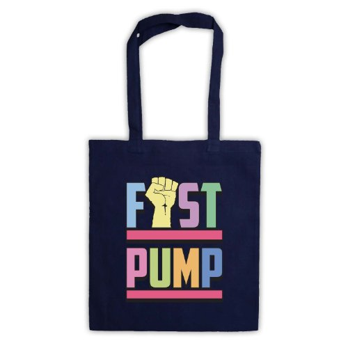 Fist pompa Slogan Tote Bag Blu navy