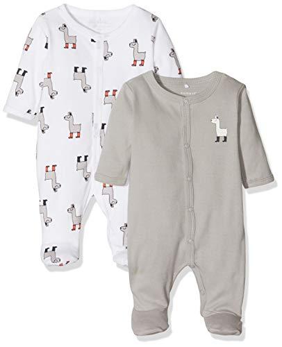 NAME IT Unisex Baby Schlafstrampler NBNNIGHTSUIT 2P W/F NOOS, Mehrfarbig (Weiß Bright White), 80