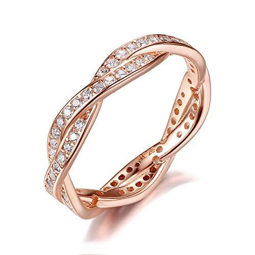 Presentski 925 Sterling Silber Promise Ring mit CZ, Rose vergoldet (52 (16.6))