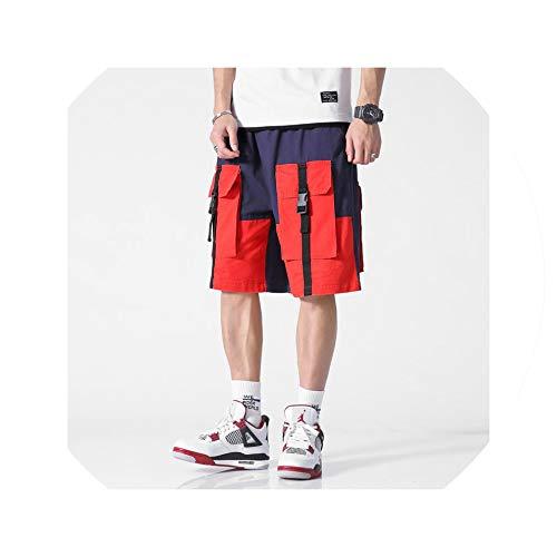 Summer Men Military Camo Short Pants Knee Length Patchwork Streetwear Leisure Men's Shorts Masculino Homme Cargo Shorts,Navy,XL