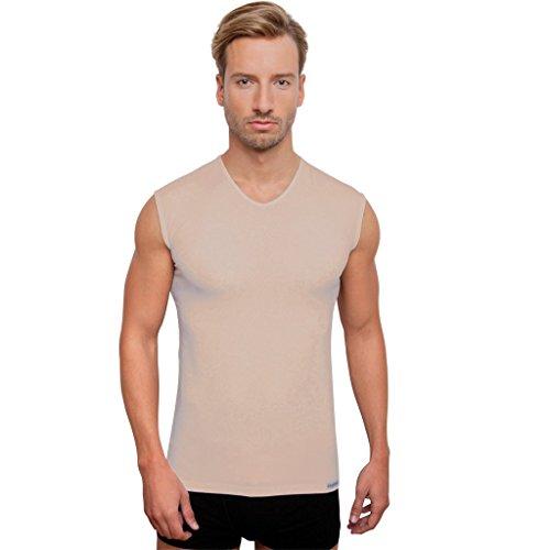 Unsichtbares ärmelloses Unterhemd in Hautfarbe von Schaufenberger V-Neck, Hautfarbe , Größe L (Krawatte Unterwäsche Männer)