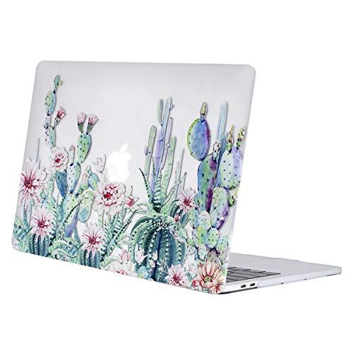 MOSISO Hülle Kompatibel mit MacBook Pro 13 2019 2018 2017 2016 Freisetzung A2159/A1989/A1706/A1708 - Plastik Muster Hartschale Kompatibel mit MacBook Pro 13 Zoll, Klar Basis Kaktus