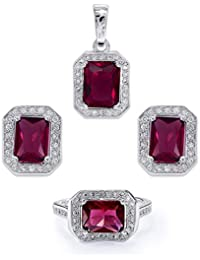 "Peora Rhodium CZ Rectangle Red Crystal Pendant Earring Set With Free 18"" Chain For Women And Girls"