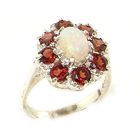 Luxury Ladies Solid Sterling Silver Natural Opal & Garnet Large Cluster Ring - Size P - Finger Sizes L to Z Available - Suitable as an Anniversary, Engagement or Eternity