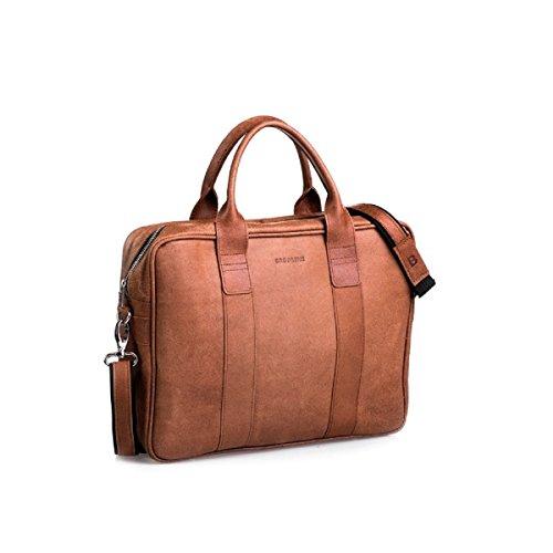 Brodrene echtes Leder Herren Schulter Laptop Tasche Premium Dundee BL01 (Grau/Rot) Braun/Rot