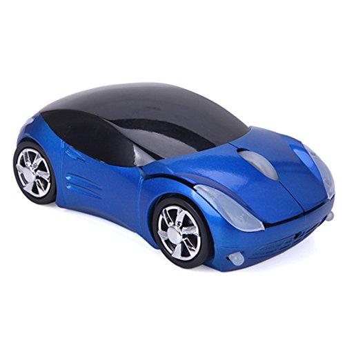 HDE Kabellose optische Maus, in Form eines Sportwagens mit Chromfelgen und weißen LEDs, Blau