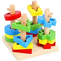 Toyshine Wooden Four Column Geometric Blocks Building Stacker Shape Sorter Column Puzzle Stacking Set for Kids - D