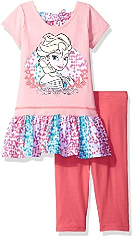 Disney Little Girls' 2 Piece Frozen Legging Set, Peach, 5
