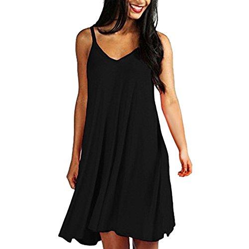 LEvifun Damen Midi Dress Kleider Einfarbig Riemchen Mini Kleider Frauen Partykleid Mode (Schwarz, S)