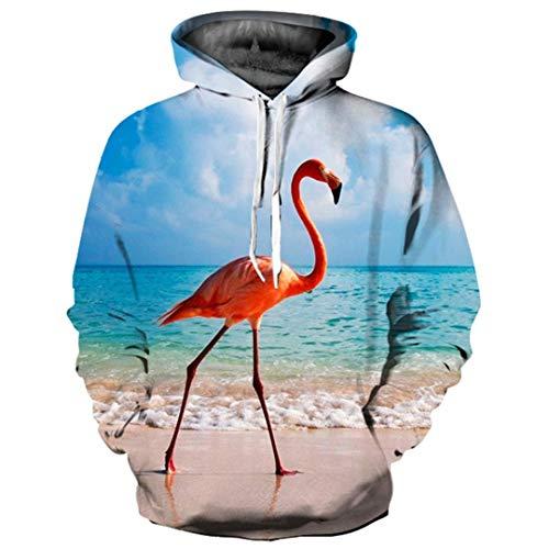 3D Hoodies Frauen/Männer 3D Sweatshirts Drucken Schöne Landschaft Küste Flamingo Dünne Mit Kapuze Hoodies YXQL700 XXXL -