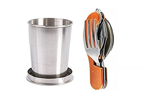Camping Set with Folding Glass + Orange/Rouge Cutlery 4Piece–Gift Idea