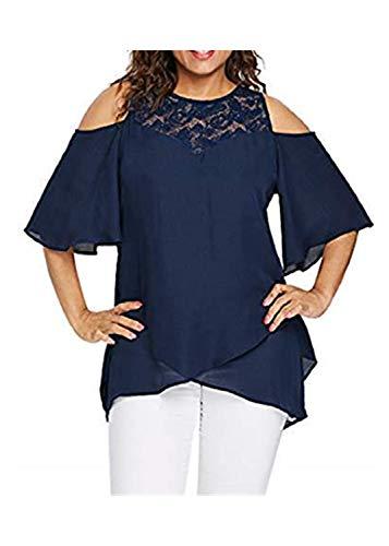 SUCES Bluse Damen, Lässig Langarm Pullover Frauen Mode Groß Größe T-Shirt V-Ausschnitt Schulterfrei Oberteile Charmant Tunika - Damen Alpaka Tunika Pullover