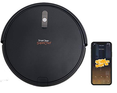 SuperChef Robot Aspirador SF423 SmartClean WiFi, App, Compatible con Alexa y Google Home, Navegación...