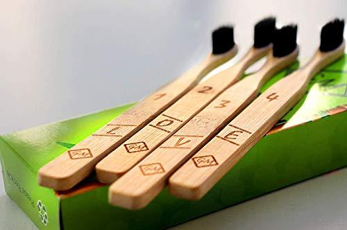 ♻100% natürlich 4er-Pack Bambus zahnbürsten aus nachhaltigem Bambus-Holz BPA-freie Bambus Holzzahnbürste, plastikfrei , umweltfreundlich, vegan, biologisch abbaubar, recycelbar♻ -